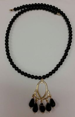 Black Agate & Gold Necklace
