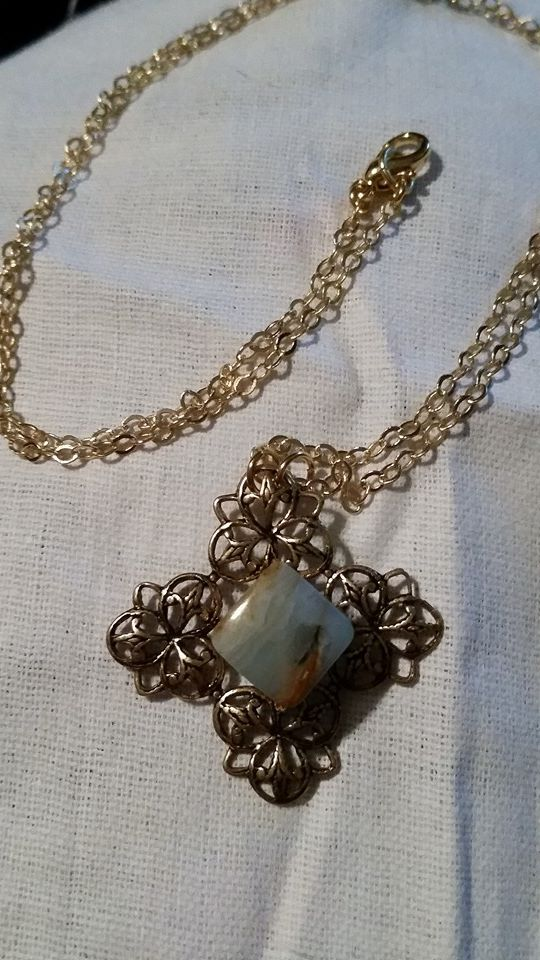 SOLD! Blue Opal on Antique Gold Filigree