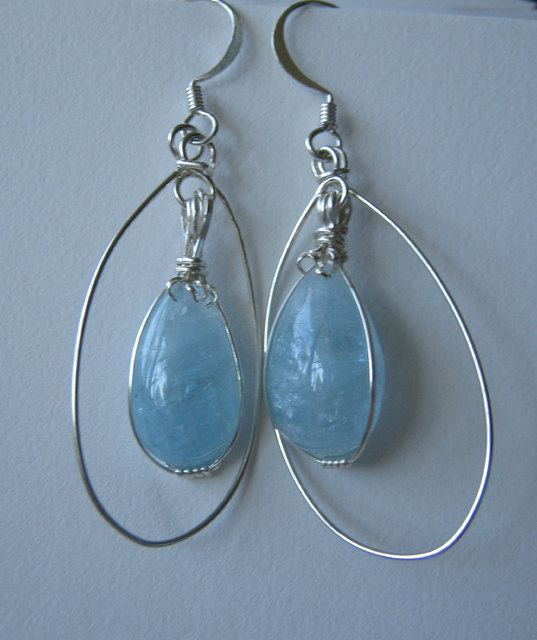 SOLD Genuine Aquamarine Cabochon Earrings in Sterling Silver