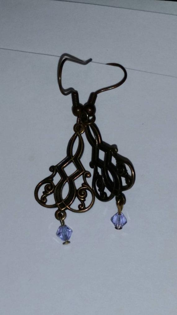"""Alexandrite"" Antinqued Gold Filligree Earrings"
