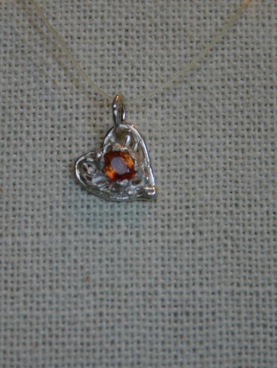 Alternate View of Orange Sapphire Pendant
