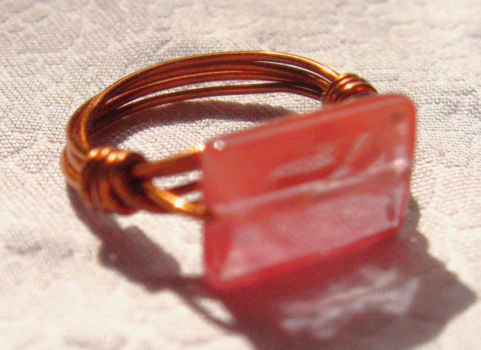 "SOLD Copper & ""Cherry Quartz"" Bead Ring - Size 5"