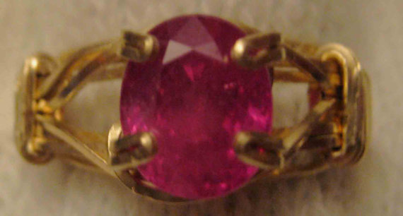 Genuine Ruby in Gold Filled Wire - US Size 8