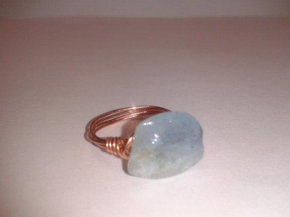 Genuine Aquamarine bead Ring in Copper