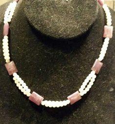 Purple Lepediolite & Faux Pearls